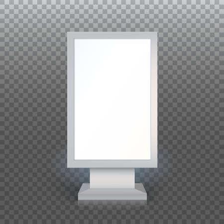 Digital Signage. Blank advertising billboard on transparent background, Vertical blank lightbox, vector illustration.