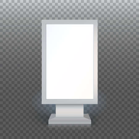 lightbox: Digital Signage. Blank advertising billboard on transparent background, Vertical blank lightbox, vector illustration.