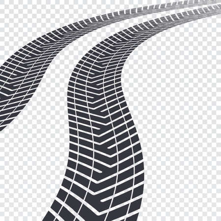 tire cover: Winding tire tracks on transparent background, vector illustration for your presentation, posters, cover and other design Illustration