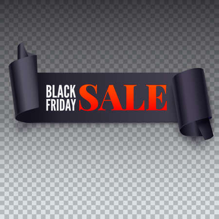 Black Friday Sale twisted banner. Black friday sale banner on transparent background. Symbol of sales, Black Friday. Promotional posters for your business offers, flyers and discount banners Ilustrace