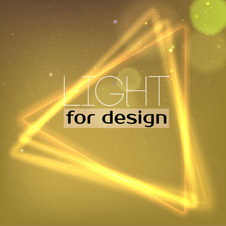 light effect: Abstract Neon triangle. Background with luminous swirling sparkle. Glowing triangle.. Shine triangle frame tunnel with light  effect. Cover for your presentation and design with space for your message Illustration