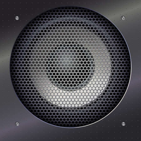 shiny metal background: Background with sound speakers dynamics and metal mesh. Background of polished metal with flare, patches of light. Audio speaker on a shiny metal background with bolts. Vector Illustration. Illustration