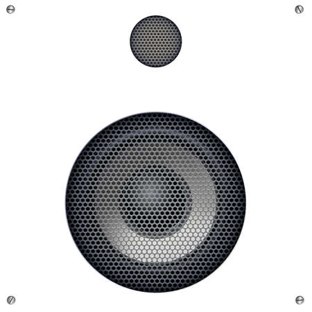 steel grille: Background with sound speakers dynamics and metal mesh. Audio speaker on background with bolts. Vector Illustration. Great background for advertising and design