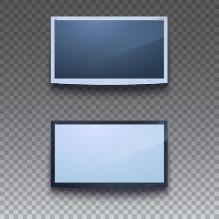 lcd: Led tv hanging on the wall on transparent background. Two color, for your design. TV screen hanging, eps 10.  LCD or LED tv screen. Display blank, digital equipment mockup. Vector illustration