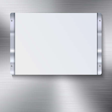 reflexes: White plate with metal frame and bolts on the background of polished metal.. White banner and metal frame with reflexes. Technological background for your design