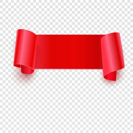 curled edges: Red banner with curled edges on a transparent background, Realistic red vector ribbon. Vector illustration for your presentation, posters, cover and other design Illustration