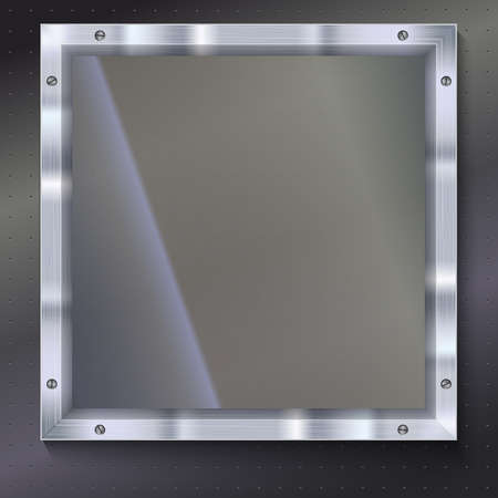shiny metal background: Glass plate with metal frame and bolts on the background of polished metal. Banner of glass and metal frame with reflexes. Technological background for your design
