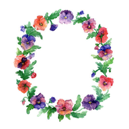 folkart: Vector flowers with dots. Abstract background with ethnic motifs, original pattern of flowers. Floral wreath
