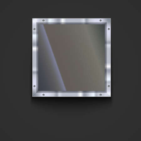 shiny metal background: Glass plate with metal frame and bolts. Banner of glass and metal frame with reflexes. Technological background for your design