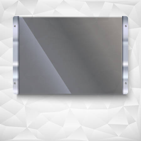shiny metal: Glass plate with metal frame and bolts. Banner of glass and metal frame with reflexes. Technological background for your design