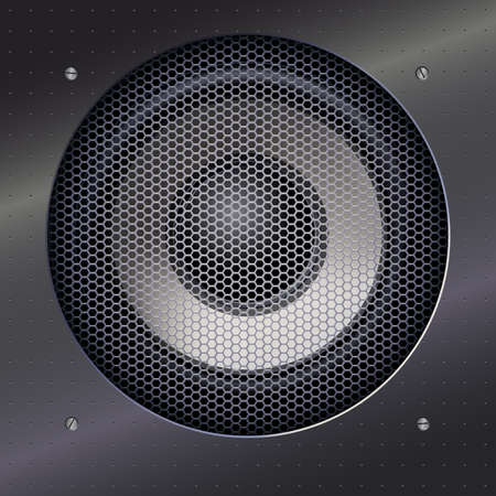 metal mesh: Background with sound speakers dynamics and metal mesh. Background of polished metal with flare, patches of light. Audio speaker on a shiny metal background with bolts. Vector Illustration. Illustration