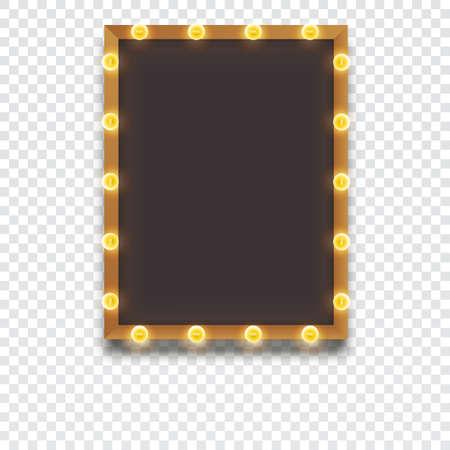 Gloeiende frame met gloeilampen, retro kijkt kader sjabloon, vector illustratie voor uw presentatie, posters, dekking en andere design