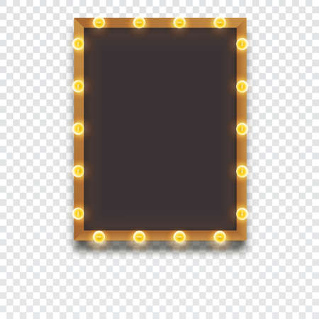 Glowing frame with light bulbs, retro looks frame template, vector illustration for your presentation, posters, cover and other design Illustration