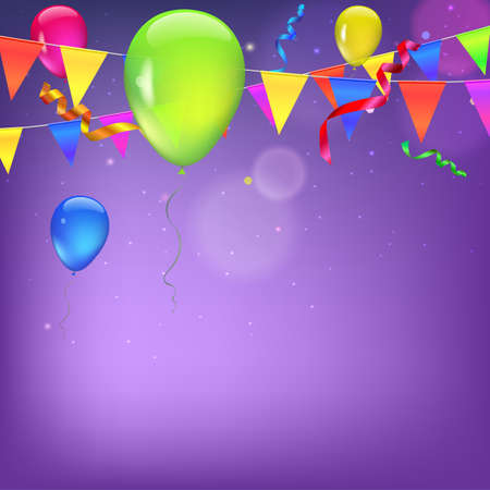 streamers: Background with flags, garlands, streamers and balloons for your presentation. Greeting card with bokeh effect on background. Colored flags, pennants, streamers and balloons with glow and bokeh effect