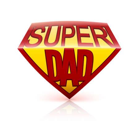 超级爸爸盾在白色背景的贺卡。可编辑矢量,易于更换大小