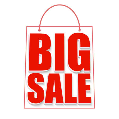 big size: Big sale advertisement. Colorful expressive, attention-drawing banner on white background. Vector editable symbol, easy to change size