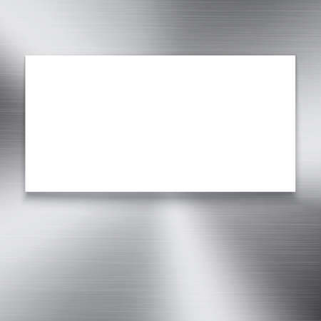 polished: White banner on polished metal texture background. Circular brushed metal texture with white place for your text. Polished metal plate.