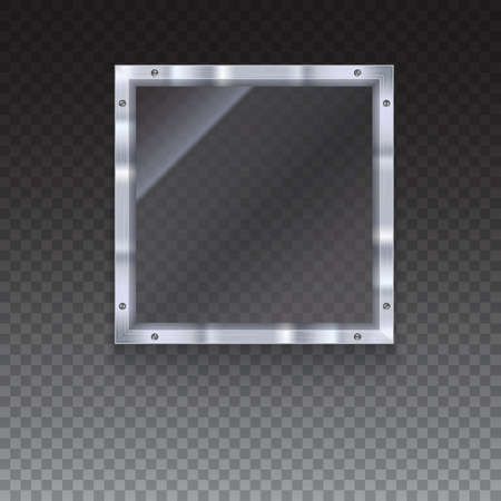 metal frame: Glass plate with metal frame and bolts on transparent background. Banner of glass and metal frame with reflexes. Technological background for your design
