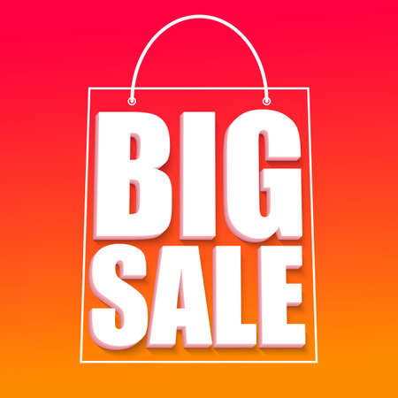 big size: Big sale advertisement, fantastic offers. Colorful expressive, attention-drawing banner with hot, red background. Vector editable symbol, easy to change size