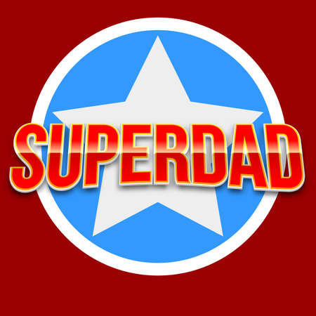 super dad: Super dad badge with star on blue background. Glossy inscription Super dad over the white star on the red background. Vector illustration. can use for farther day card.
