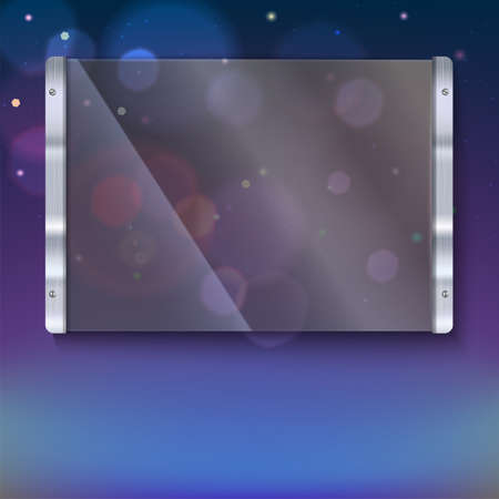 reflexes: Glass plate with metal frame and bolts on the colored background. Banner of glass and metal frame with reflexes. Clear glass top festive background with blurred colored lights Illustration