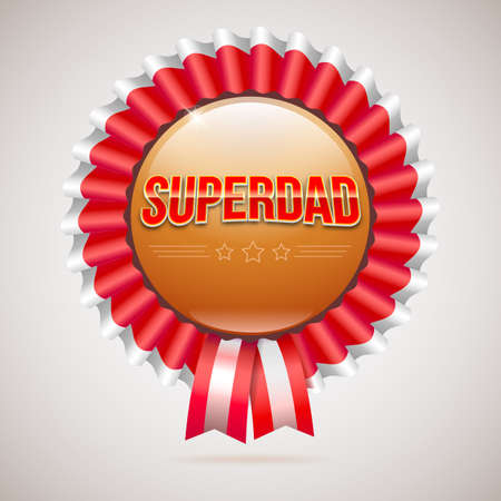 farther: Super dad badge with ribbon on white background. Glossy inscription Super dad on the badge. can use for farther day card.