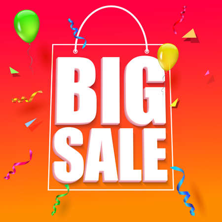 big size: Big sale advertisement. Colorful expressive, attention-drawing banner on red background with balloons, serpentine and confetti. Vector editable symbol, easy to change size