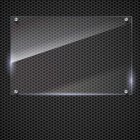 plexiglas: Vector glass frame with steel rivets. Glass framework. Transparent glass frame on on the metal mash background.