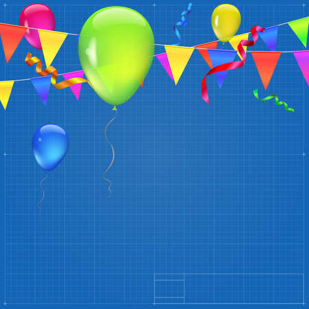 streamers: Background with flags, garlands, streamers and balloons for your presentation. Greeting card with bokeh effect on blueprint background. Colored flags, pennants, streamers and transparent balloons