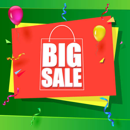 big size: Big sale advertisement. Colorful expressive, attention-drawing banner on green background with balloons, serpentine and confetti. Vector editable symbol, easy to change size