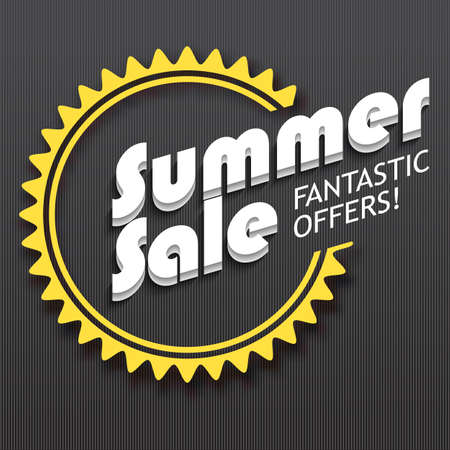 darck: Summer sale advertisement, fantastic offers. Colorful expressive, attention-drawing banner on darck background. Vector editable symbol, easy to change size Illustration
