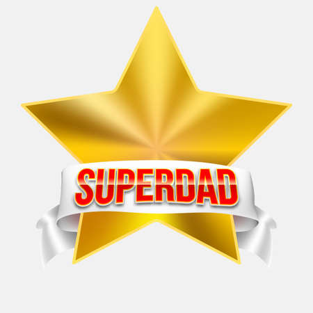 athletic type: Super dad badge with ribbon on white background. Glossy inscription Super dad over the white ribbon against the background of the yellow star. Vector illustration. can use for farther day card. Illustration