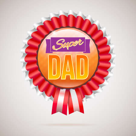 super dad: Super dad badge with ribbon on white background. Inscription Super dad over the ribbon. Vector illustration. can use for farther day card. Illustration
