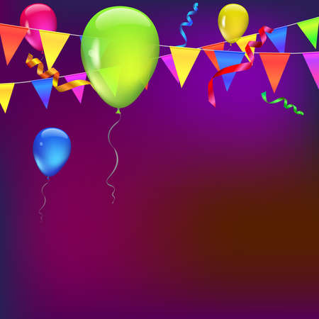 streamers: Background with flags, garlands, streamers and balloons for your presentation. Greeting card with bokeh effect on background. Colored flags, pennants, streamers and transparent colored balloons
