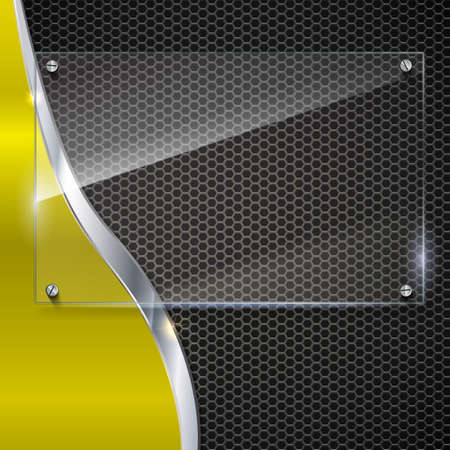 Elegant vector metallic background with glass banner. Color polished texture with highlights and glow on the background of metal mesh. Vector editable texture, easy to change size Illustration
