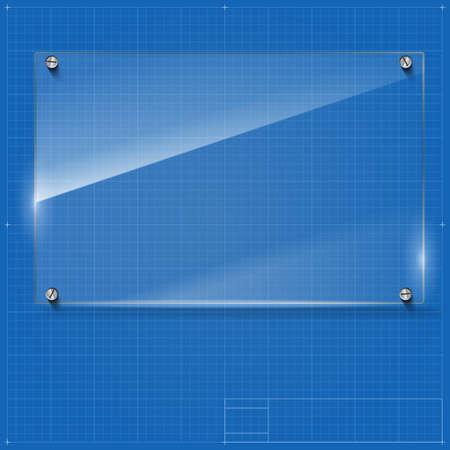plexiglas: Vector glass frame with steel rivets. Glass framework. Transparent glass frame on the blueprint background.