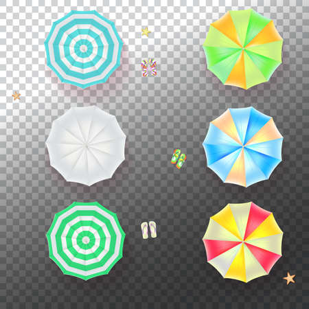 sunshade: Set of colorful beach umbrellas on the transparent background with beach flip flops and starfish, top view icons. Vector illustration for your design, poster, covers, invitation, or flyer.