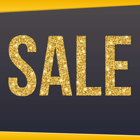 price reduction: Sale banner, gold glitter lettering on dark background. Professional bright banner announcing the price reduction, sale or seasonal offer Illustration
