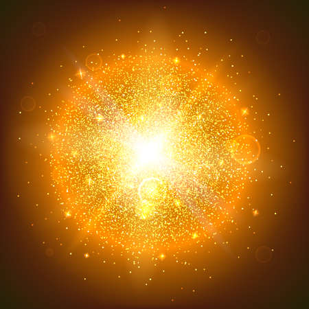 an outburst: Bright glowing ball filled with particles and dust with shine and glow. The specks of light flying from the explosion