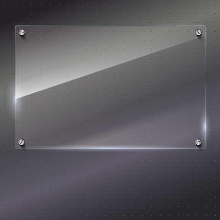 plexiglas: Vector glass frame with steel rivets. Glass framework. Transparent glass frame on the background of polished metal. Illustration