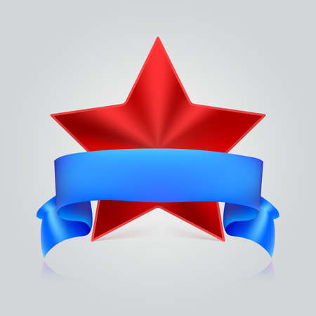 red metal: Metal red star label with blue ribbon on white background, vector illustration