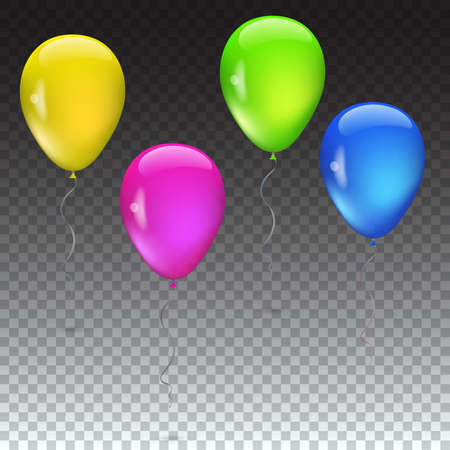 balloon background: Set of balloons various beautiful colors, isolated vector on transparent backgound, eps10, contains transparencies.