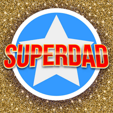 super dad: Super dad bright lettering. Vector glossy bright text with glitter and star on twinkle background. Greeting card for your design and congratulations