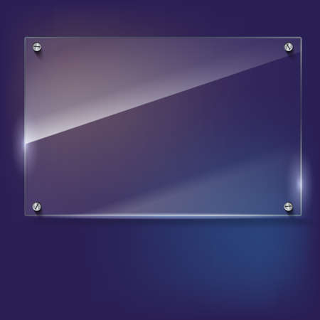 rivets: Vector glass frame with steel rivets. Glass framework. Transparent glass frame on the colored background.