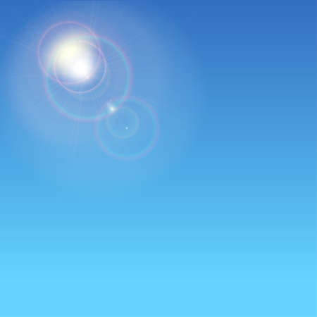 sun flare: Sunburst with sun flare. Abstract glowing ring from the sun. Glare and rays on a blue background with glow halo Illustration