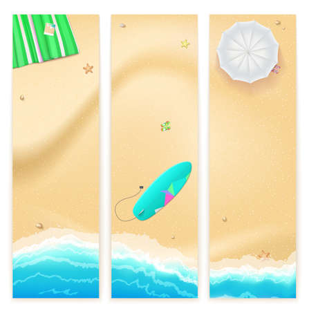 tide: Set of vector banners with sunny sandy beach with turquoise sea tide, umbrella, mat and surfing board. Summer travel background, promotional poster for your business