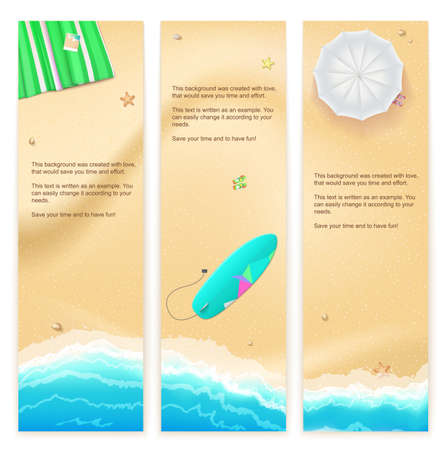 beach mat: Set of vector banners with sunny sandy beach with turquoise sea tide, umbrella, mat and surfing board. Summer travel background, promotional poster for your business
