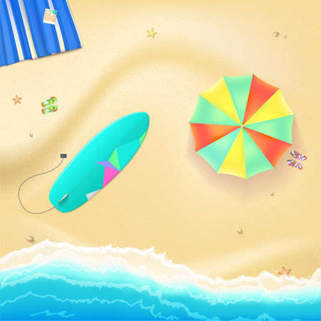 beach mat: Summer travel background. Sunny sandy beach with umbrella, mat, slippers and a surfboard. Tropical seashore with a view of the surf, top view.