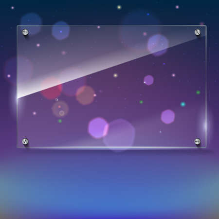 rivets: Vector glass frame with steel rivets. Glass framework. Transparent glass frame on the colored background with bokeh effect. Clear glass top festive background with blurred colored lights