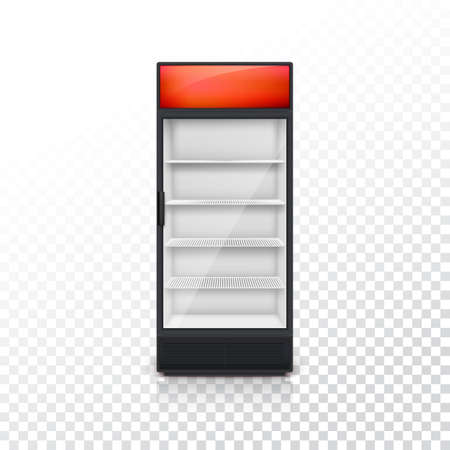 lightbox: Fridge for drink with glass door and red lightbox, on a transparent background. Mock-up or template for your design and advertising message